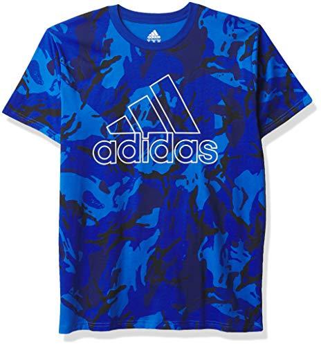 adidas Boys' Short Sleeve Cotton Jersey Logo T-Shirt, Camo Royal Blue, X-Large