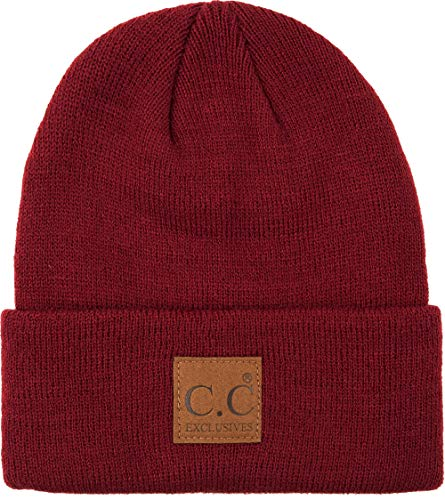 Mens Beanie Classic Knit Cap with Logo Patch - Watch Hat (Burgundy)