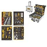INGCO Trolley con 147 herramientas de aluminio con ruedas portátil, para uso laboral y Hobbystic | Portátil para talleres mecánicos, garajes, electricistas, albañilería, cartónes