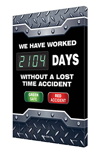 Accuform Digi-Day 3 Electronic Safety Scoreboard,'WE HAVE WORKED #### DAYS WITHOUT A LOST TIME ACCIDENT - GREEN SAFE/RED ACCIDENT' (SCK104)