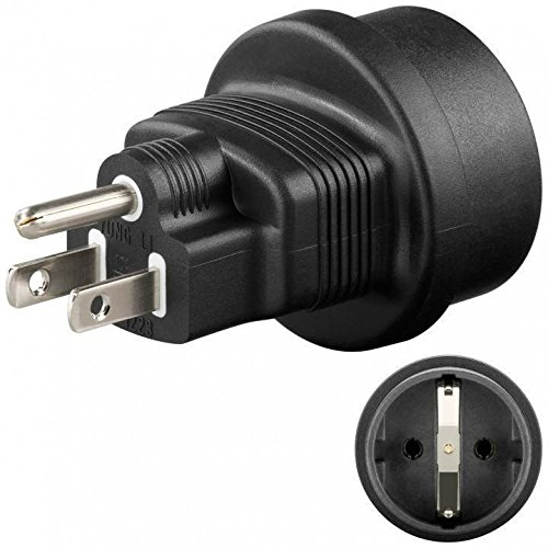 MANAX® Schutzkontakt Buchse auf US USA/Japan Stecker Netzadapter Reiseadapter (1 Stück)