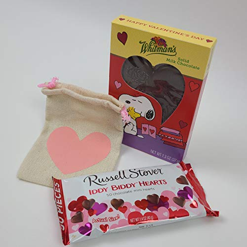 Solid Milk Chocolate Hearts Valentine's Day Gift Bundle - One 1.3 oz Whitman's Solid Milk Chocolate Heart featuring Snoopy - One 1.4 oz bag of Russell Stover Iddy Biddy Hearts - Bundled with a Pink Heart Adorned Closable canvas gift sack - The perfect gift for anyone - Give that someone Special your heart(s) this Valentine's Day!!