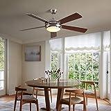 VISDANFO Ventilador de techo con ventilador silencioso y mando a distancia, 132 cm, 5 aspas, iluminación LED, carcasa clásica, temperatura de color, disponible todo el año