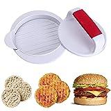 YRMJ Molde antiadherente para hacer hamburguesas y empanadas, fácil de usar, anillos de liberación fácil para carne más allá de vegetales, pavo y carne vegana (1 unidad) blanco