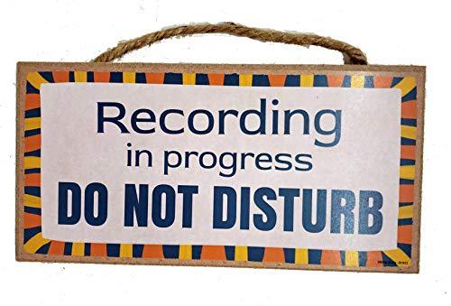 Brixta Studio Recording in Progress Do Not Disturb Door Sign for Musicians Podcasters Videographers - Hanging Wooden Plaque - 10 x 5 Inches