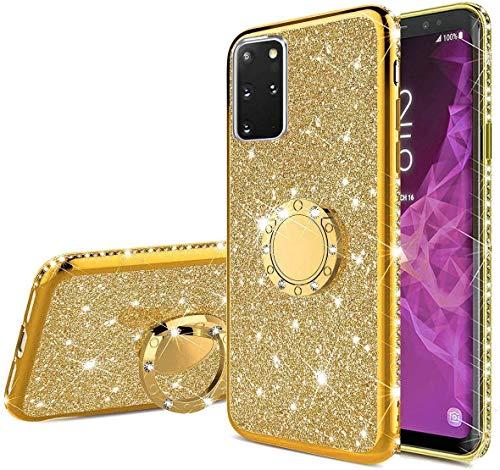 Nadoli Glitzer Hülle für Galaxy M31S,Kristall Diamant Strass Bumper mit 360 Ring Kickstand Silikon Schutzhülle Handyhülle Frauen Mädchen für Samsung Galaxy M31S,Gold