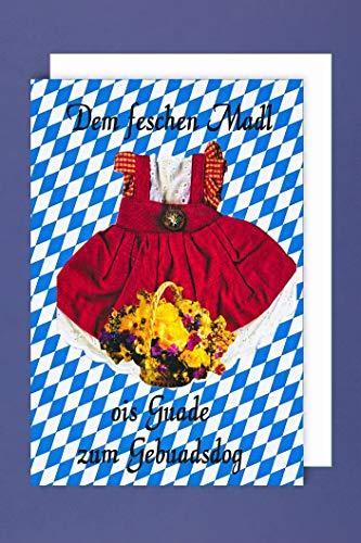 Bayern Geburtstag Grußkarte Karte Mädchen Humor Feschen MADL OIS GUADE C6 Plus 3 Sticker