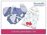 3 Papierschnittmuster zum Nähen von Babykleidung - Das Baby Set beinhaltet einen Overall, eine Mütze und Jacke für Babys und Kleinkinder von Gr. 50-74