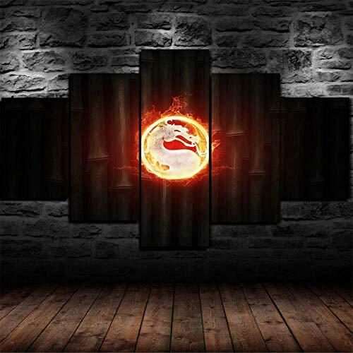 60Tdfc kunstdruk op canvas, wand, kunstdruk, afbeelding 5 schilderen, draak, symbool, HD-logo, woonkamerdecoratie, poster