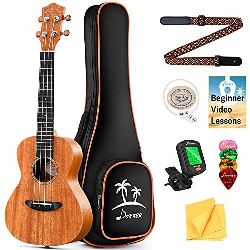 Donner Concert Ukulele Mahogany 23 Inch Ukelele Starter Bundle Kit...