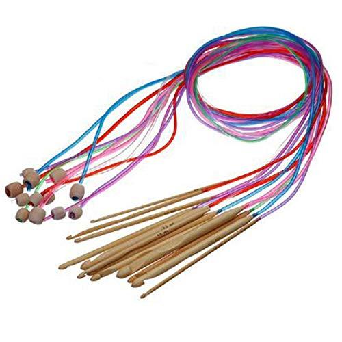 HLPIGF 1 Ensemble / 12 Pc Bambou Naturel Crochet De Tapis Afghan Tunisien Flexible Crochets Aiguilles Couleur AléAtoire PoignéE en Bambou Ensemble d