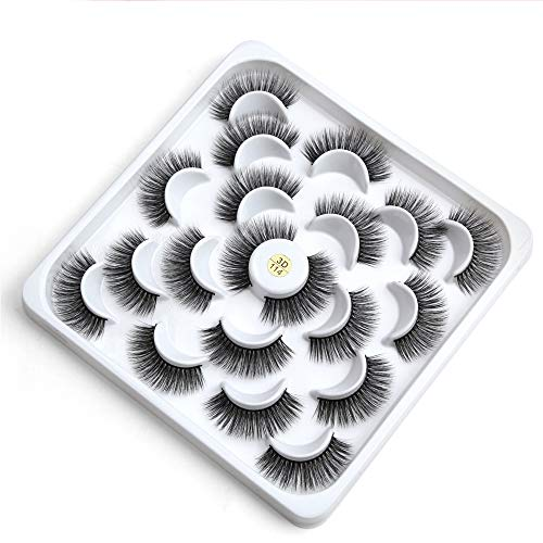 3D Faux Cils, Plaque Lotus 10 Paires de Faux Cils Naturel Main Court Souple réutilisable Cils,3d114