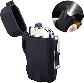 Outdoors Waterproof Dual Arc Lighter,USB Rechargeable Windproof Flameless Electric Lighter with Flashlight for Camping Hiking Outdoor Survival (Black)
