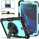 Galaxy Tab A 10.1 Case 2016 with Stand, Herize Full-Body Durable Protection Rubber Hard Drop Kids Proof Case with Built-in Screen Protector, Handle Hand Grip for Samsung Galaxy Tab A 10.1 Case Skyblue