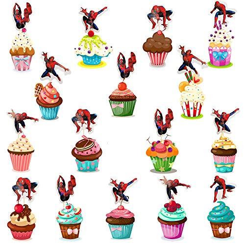 BESTZY 120pcs Spider Man Geburtstag Cake Topper Geburtstag Happy Brthday Spider Man Kuchendeko Tanzen Kuchen für Kinder