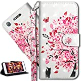 HMTECH Sony Xperia XA1 Hülle 3D Süßes Cat Bunte Blumen Flip Standfunktion Karten Slot Magnetverschluß Brieftasche Taschen Schalen Handy Ledercase für Sony Xperia XA1,Cat Pink Flowers