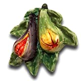 Italian Ceramic Figs decorations for Kitchen - Hand Painted Kitchen wall decor - Kitchen decorations with Artificial Figs - Italian Pottery Artificial fruits for decoration lifelike -