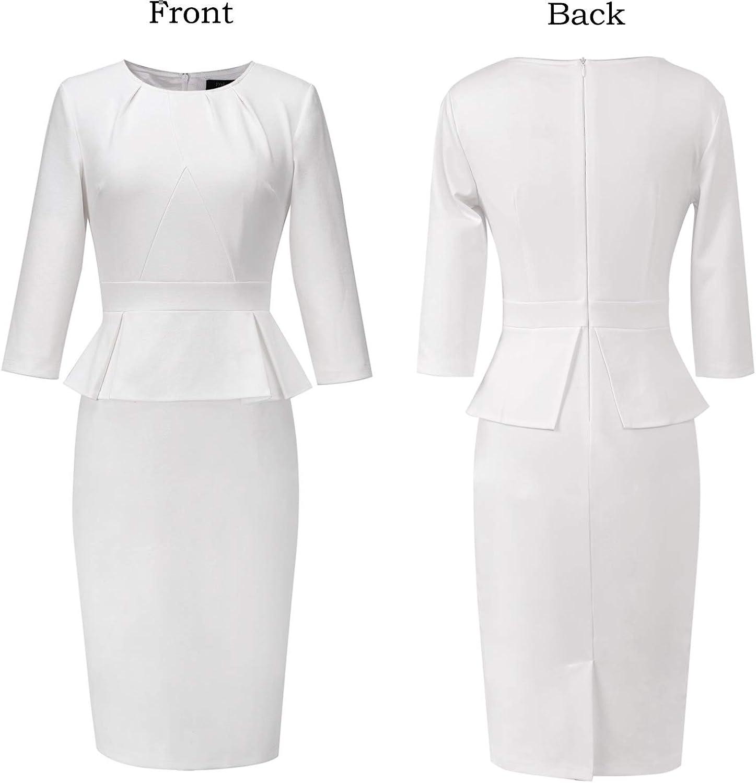 Vfshow Womens Pleated Crew Neck Peplum Wear to Work Office Sheath Dress