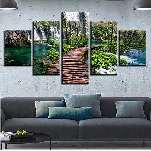 Prodizainas Impresión de Cuadros de Pared decoración de la habitación Arte 5 Piezas Cascada árbol Verde y Puente de bosques Paisaje Natural Lienzo Modular Cartel de Pintura