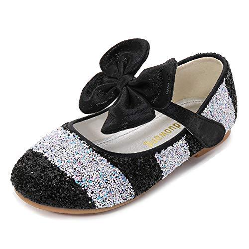 YOSICIL Zapatos de Tacon con Arco para Niñas Zapatillas de Lentejuelas Zapatos de Tango Latino Niña Zapatos de Princesa para Fiesta Regalos Cumpleanos