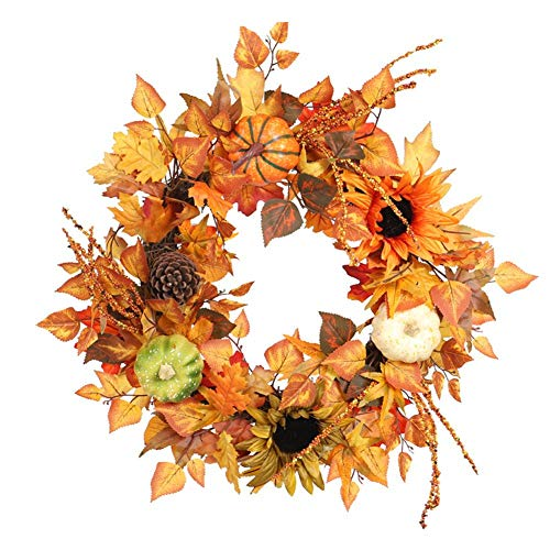 BAYUE Artificial Wreath, 3-Color Durable Reusable Pumpkin Sunflower Maple Leaf Wreath for Christmas Thanksgiving Holidays (60cm/23.62in)