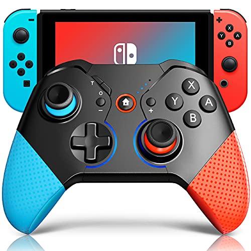 Wireless Controller für Nintendo Switch, Aufweckfunktion Bluetooth Controller Gamepad mit Programmierbarer/6-Achsen Sensor/Dual Shock Vibration/Turbo/Atemlicht/ Funktion für Switch Lite, Rot & Blau