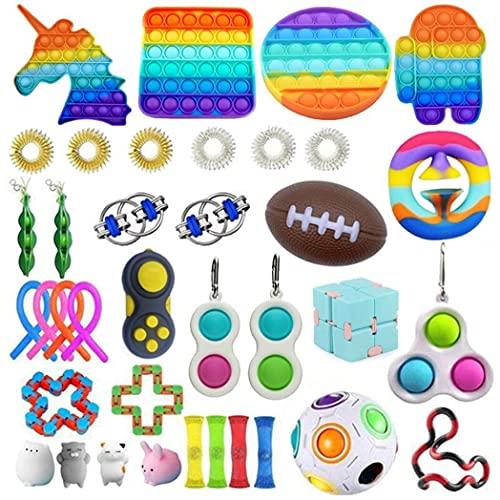 Fidget Toys for Kids, Popitz Fidget Toys, Tic TOC Fidget Toys with Mesh Ball, Tangle Fidget Toys, Cube Snaperz Fidget Toys, Monkey Noodles Fidget Toys, Silicone Popper Fidget Toys,BH71,Type 18