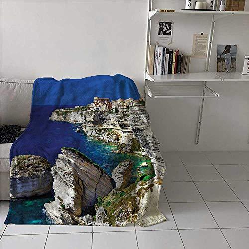 Bed Blanket Cityscape Air Conditioner Blanket Ocean Summer Seascape Best Gift for Women, Men, Kid, Teen 50x60 Inch