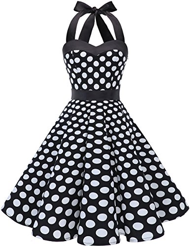 DRESSTELLS Neckholder Rockabilly 1950er Polka Dots Punkte Vintage Retro Cocktailkleid Petticoat Faltenrock Black White Dot S