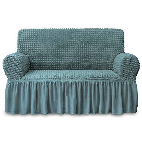 NICEEC Loveseat Slipcover Sage Loveseat Cover 1 Piece Easy Fitted Sofa Couch Cover Universal High Stretch Durable Furniture Protector Love Seat with Skirt Country Style (2 Seater Sage)