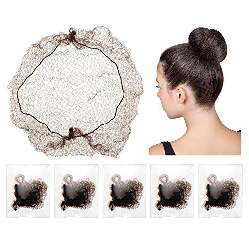 30 Stück Unsichtbare Haar Netze Elastische Rand Mesh für Perücke und Haar Fixierung Damen Brötchen machen, Kaffee