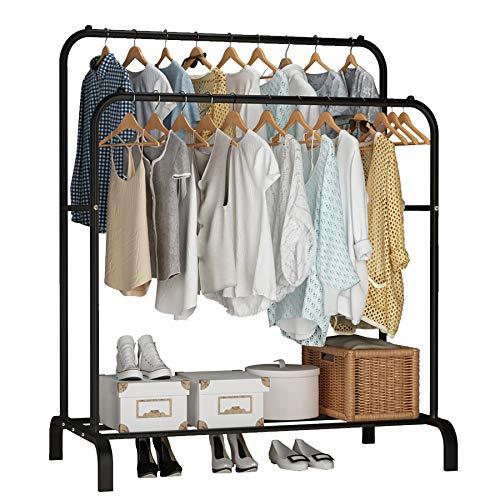UDEAR Garment Rack Freestanding Hanger Double Rods Multi-functional Bedroom Clothing Rack Black