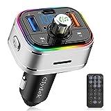 Clydek Transmisor FM, adaptador de radio de coche Bluetooth con control remoto, compatible con la función de carga y apagado PD3.0 tipo C, reproductor de música compatible con tarjeta USB TF