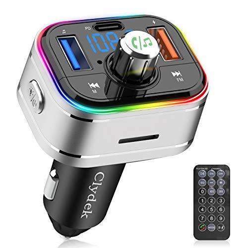 Clydek FM Transmitter, Bluetooth-Autoradio-Adapter mit Fernbedienung, Unterstützt die Lade- und Ausschaltfunktion PD3.0 Typ C, Musik-Player-Unterstützung USB-Laufwerk TF-Karte