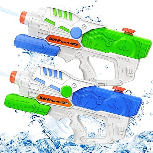 Ucradle 2 x Wasserpistole, 950ml Wasserspielzeug Wasserpistolen Mit Großer Reichweite 8 Meters, Water Blaster Kinder Pumpgun Wasserspritzpistole für Garten, Strand, Pool, Sommerpartys Spielzeug