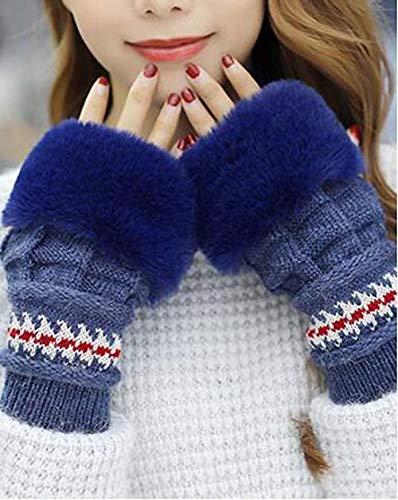 ZXCVBW Wintermütze Handschuhe Schals Set Dicke Plüsch warme Mütze weibliche Strickmütze im Freien Winddicht Ohrenklappen Beanie Mütze, dunkelblaue Handschuhe, freie Größe