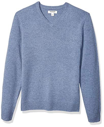Amazon Brand - Goodthreads Men's Lambswool V-Neck Sweater, Light Blue Medium
