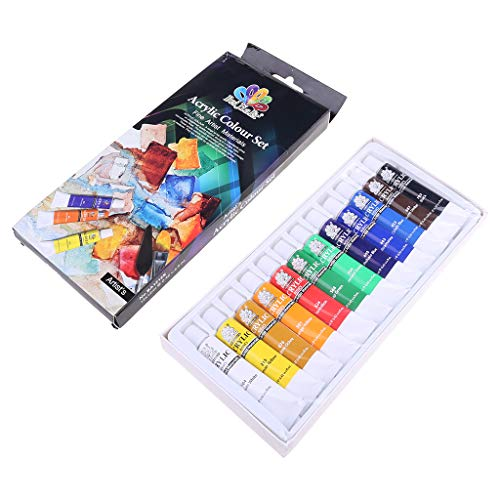 SUSHUN 12 Colori 12 ml Tubo Vernice acrilica Set Arte Pittura Strumenti di Disegno per Bambini Fai da Te