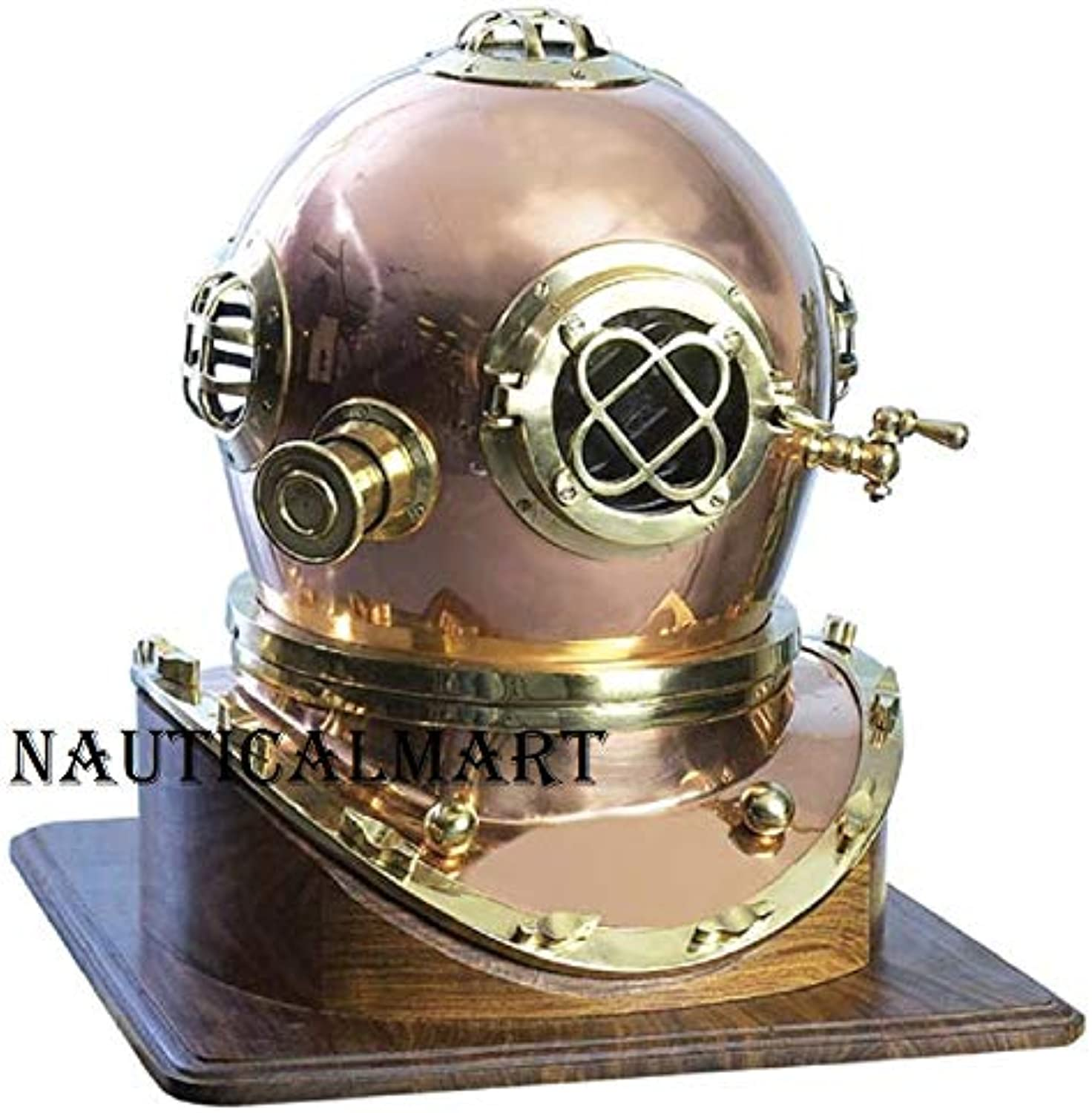 NAUTICALMART Solid Shiny Mark V Divers Helmet Copper Brass 18''