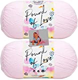 Lion Brand Pound of Love Yarn - 2 Pack with Pattern (Pastel Pink)