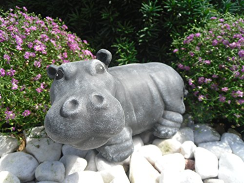 Steinfigur Nilpferd, 163/1 Gartenfigur Steinguss Tierfigur Basaltgrau