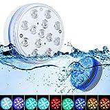Luces Sumergibles GolWof 8.5CM 13 LED Piscina Luz Subacuática RGB Luz Piscina con RF Remoto, 4 Ventosas, 4 Imanes Bajo El Agua Luz para Acuario Jarrón Bañera Piscina Fiestas (2 Piezas)