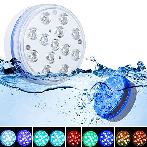 Luce LED Sommergibili GolWof 8.5CM 13 LED Sommergibili Luci Piscina RGB Luci per Laghetto con Telecomando RF, 4 Ventose, 4 Magneti Luce Subacquea per Acquario Vaso Vasca Piscina Feste- 2 Pezzi