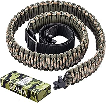SOMA Rifle Sling 550 Paracord 2 Point Gun Slings Adjustable Shotgun Strap w/Swivels for Outdoor Hunting  Green&Camo