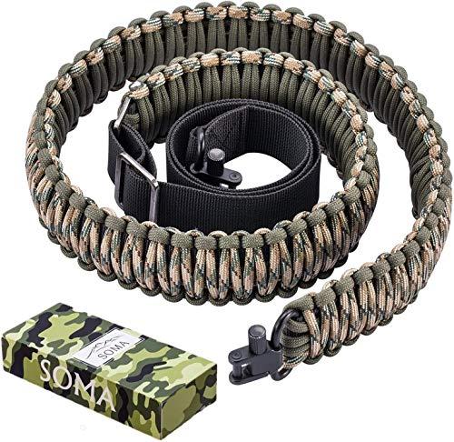 Best shotgun sling - SOMA Rifle Sling 550 Paracord 2 Point Gun Slings Adjustable Shotgun Strap w/Swivels for Outdoor Hunting (Green&Camo)