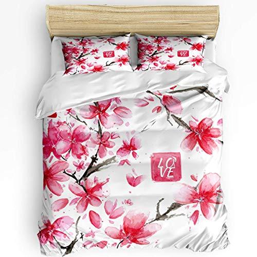 SUPERQIAO 3PCS Bedding Sets, Plum Flower Blossoms Duvet Cover Set with Decorative 2 Pillow Shams Bedspread Love Floral