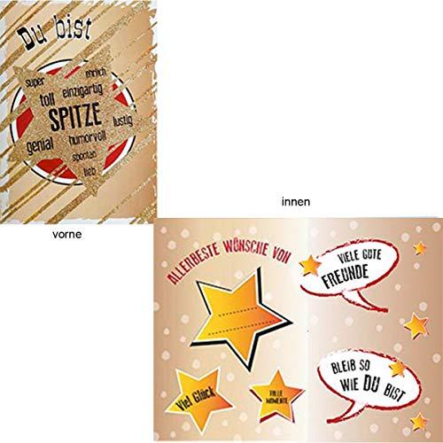Geburtstags,- Glimmerkarte mit Musik, Din A5 - Goldstern, Du bist Spitze.