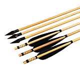 Huntingdoor Wooden Arrows 31inch Black Turkey Feathers with Hunting Arrowheads Tips OD8mm 12pcs