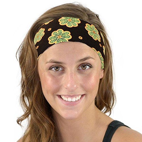 St Patrick's Day Celtic Knot Green and Gold Clover Shamrock Soft Headband Women
