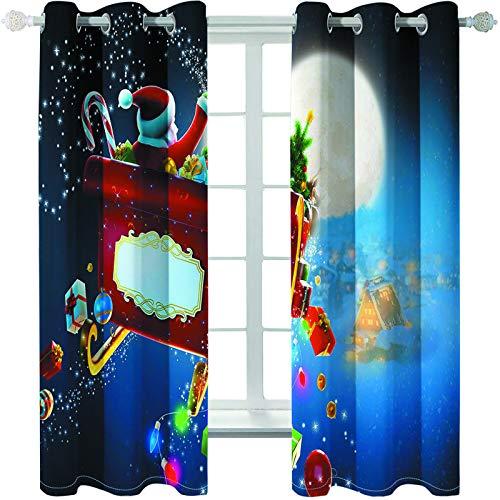 MMHJS Cortinas De Tela Estampadas En 3D De Papá Noel, Persianas De Dormitorio Y Sala De Estar, Artículos para El Hogar, Decoración De Paredes (2 Piezas)